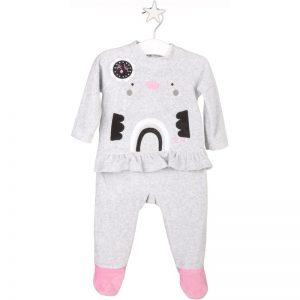 Tuc Tuc Babygrow Aveludado com bolsa Black & White Menino (6 meses)