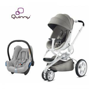 Quinny Moodd Grey Gravel + Maxicosi Cabriofix Nomad Grey