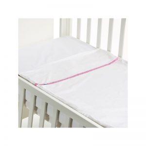 B - Mum - Conjunto de Lençois Safety Baby Bed 120 x 60 cm - Rosa/Liso