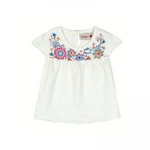 Bóboli - T-shirt Branca Flores Menina