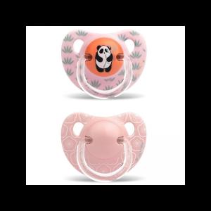Suavinex - Conjunto de 2 Chupetas Latex Panda Rosa 6-18M