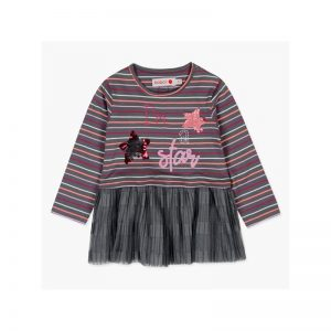 Bóboli - Vestido Malha Riscas Menina