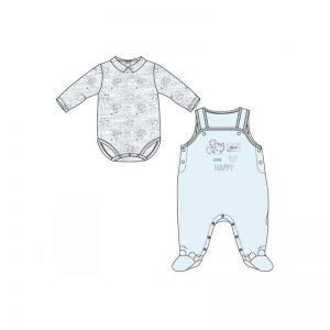 Disney Baby - Jardineira + Body Mickey Azul (Vários Tamanhos)