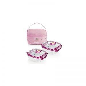 Miniland - Bolsa Isotérmica com 2 recipientes Go Hermifresh - Rosa