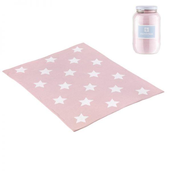 Cambrass - Manta Algodão Bebé - Estrelas Rosa