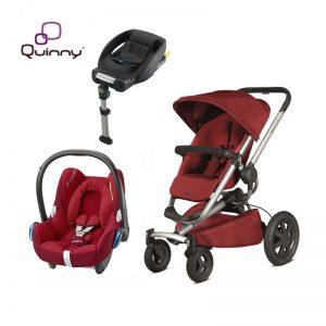 Quinny Buzz Red Rumour + Maxicosi Cabriofix Robin Red + Base Isofix BabyFix