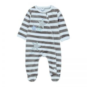 Bóboli - Babygrow Veludo Riscas Bebé Menino Azul-Cinza
