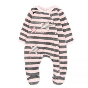 Bóboli - Babygrow Veludo Riscas Bebé Menina Rosa-Cinza
